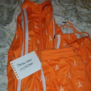 Jeffree Star Safety Orange track jogger set